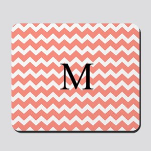 Coral Chevron Monogram Mousepad